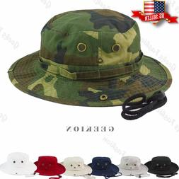 100% Cotton Boonie Bucket Hat Military Fishing Hunting Wide