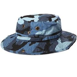 100% Cotton Boonie Fishing Bucket Hat with String-Blue Camo-