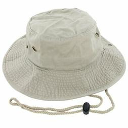 100% Cotton Boonie Fishing Bucket Hat with String Khaki Larg