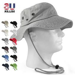 100% COTTON SAFARI HATS BUCKET WIDE BRIM FISHING BUCKET CAP