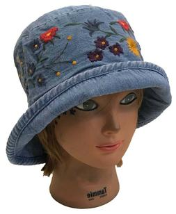 100 % Cotton Women Lady Flower Embroidery Bucket Foldable Tr