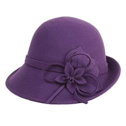 BAIMORE100% Wool Vintage Felt Cloche Bucket Bowler Hat Winte