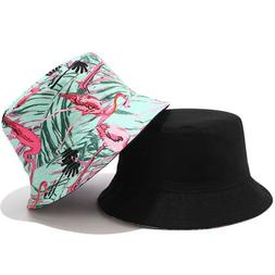 1pc Bucket Hat Durable Foldable Flamingo Double-faced Printi