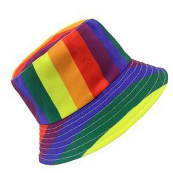 1pc bucket hat rainbow color hat sunscreen