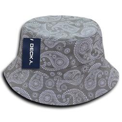 DECKY 459-PL-GRY-07 Paisley Bucket Hat, Grey, L_XL