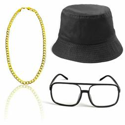 80s/90s Hip Hop Costume Kit Cool Rapper Outfits,Bucket Hat S