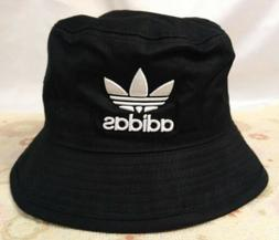 Adidas Logo Black Bucket Hat Unisex Beach Cap UV Protect New