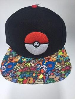 Authentic All Over Print Pokemon & Pokeball Logo Snapback Ba