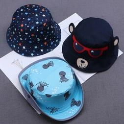 Baby Boys Girls Toddler Cartoon Printed Bucket Hats Caps Rev