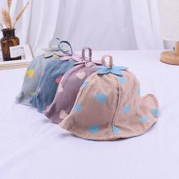 Baby Boys Girls Toddler Heart Print Bucket Hats Caps Reversi