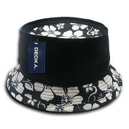 Black & White Floral Fisherman's Fishing Bucket Safari Hikin
