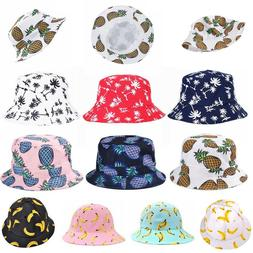 Black Bucket Hat Sun Pineapple Mens Caps Design Summer Women