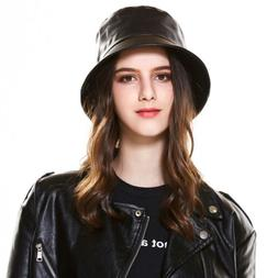 black fashion women s bucket cap leather