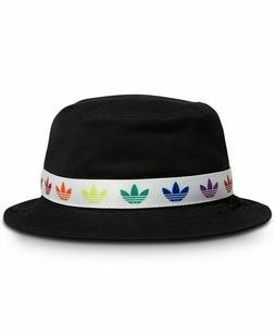 ADIDAS Black Gay Pride Logo Trefoil Bucket Hat Cap **NEW OSF