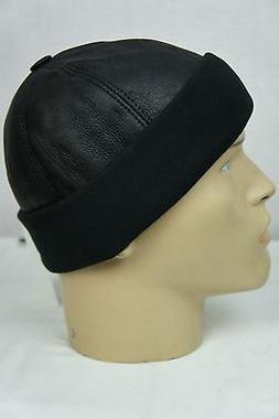 Black Shearling Leather Fur Knit Beanie Cuff Round Bucket Wi