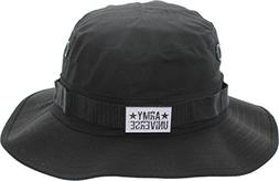 Army Universe Black Tactical Boonie Bucket Hat with Pin - Si