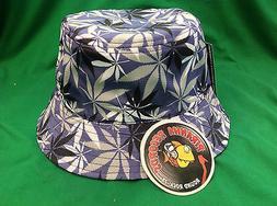 Black/White/Gray Weed Leaf Printed Purple Full-Brim Bucket H