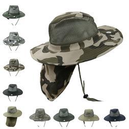 Boonie Bucket Hat Military Camo Mesh Neck Cover Sun Cap Hunt