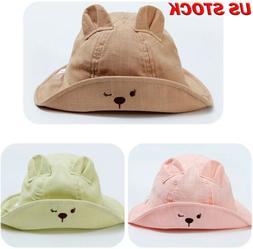Boys Girls Bucket Hat Wide Brim Hats Kids Baby Cotton Outdoo