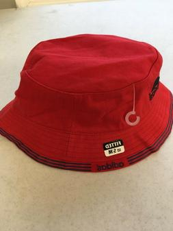 brand new red bucket hat with blue