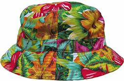Bright Floral Print Bucket Hat Hawaiian Boonie Cap