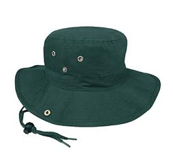 Brushed Cotton Twill Aussie Side Snap Chin Cord Hat, Dark Gr