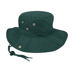 Brushed Cotton Twill Aussie Side Snap Chin Cord Hat, Dark Gr