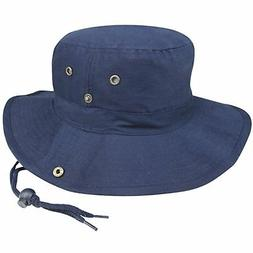 BRUSHED TWILL AUSSIE HAT WITH SIDE SNAPS AND CHIN CORD