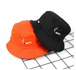 Bucket Hat Cigarette Embroidery Fisherman Caps Cotton Outdoo