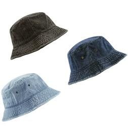 Bucket Hat - The Hat Depot Denim Washed cotton Bucket Hat