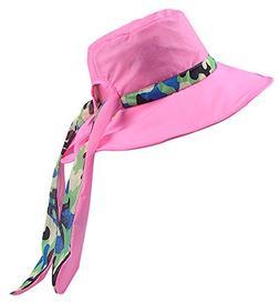 Panegy Women Bucket Hat Waterproof Big Brim Summer Sun Hat C