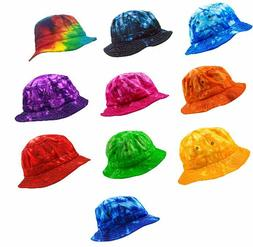 Tie Dye Bucket Hats, 100% Cotton, Multi-colors,  One Adult S