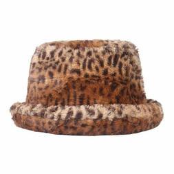 Bucket Hats Extra Thick Warm Women's Outdoor Winter Leopard