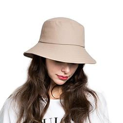 Bucket Sun Hat,Women Cotton Bucket Cap Summer Foldable Beach