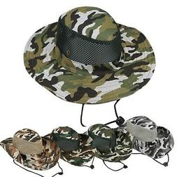 Camouflage Outdoor Boonie Hat Wide Brim Bucket Hat Fishing H