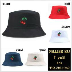 Cherry Bucket Hat Cap Cotton Fishing Boonie Brim visor Sun S