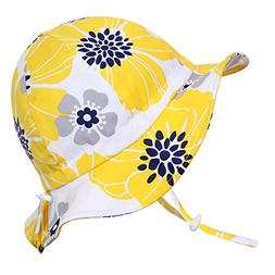 Children's Flower Cotton Sun Hats 50 UPF, Adjustable, Stay