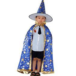 DKmagic Childrens' Halloween Costume Wizard Witch Cloak Cape