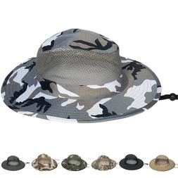 Cotton Boonie Hat Military Camo Bucket Wide Brim Sun Tactica