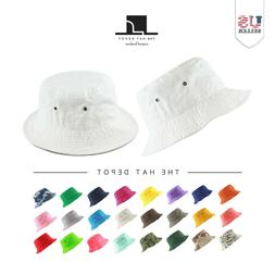 Bucket Hat - The Hat Depot Cotton Unisex Packable Summer Tra