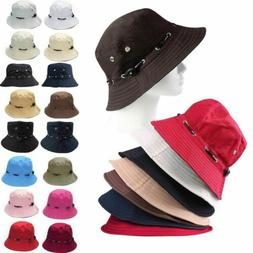 Cotton Bucket Hats Flat Sun Visor Traveling Fishing Outdoor