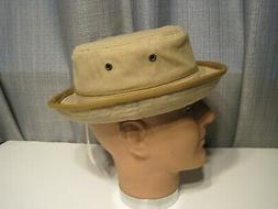 STETSON cotton BUCKET porkpie style HAT color tan MEDIUM