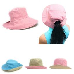 cotton ponytail bucket caps hats reversible summer