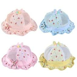 Cute Baby Girl Hat Bowknot Summer Bucket Hats Mesh Infant To