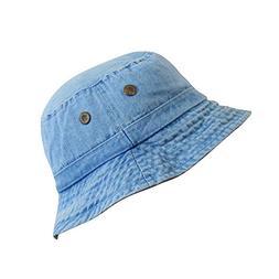 Denim Jean Cotton Bucket Hat | Packable Summer Travel Hat |