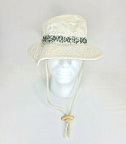 DPC Cream Leaves Printed Bucket Hat With String Medium Size