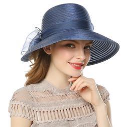 Elegant Women Derby Dress Church Cloche Hat Bow Bucket Weddi