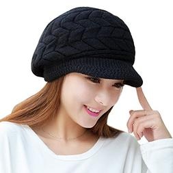 URIBAKE ❤ Fashion Women's Crochet Hat Peaked Winter Warm S