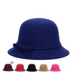 Fashion Women Wool Church Cloche Flapper Hat Lady Bucket Win