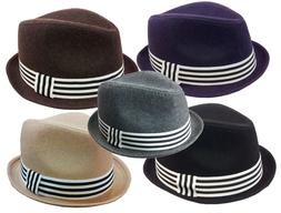 FEDORA TRILBY GANGSTER WOOL ROLL UP FEDORA BUCKET HAT MEN WO